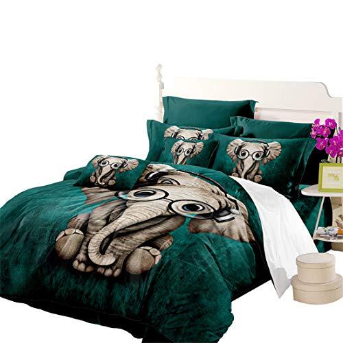 Junhome Quilt Cover Queen Size Cartoon Listen Music Elephant Dark Green Duvet Cover Beeding Set