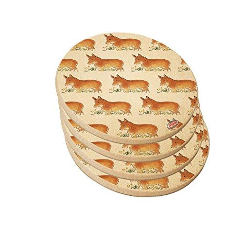 Natural Round Sandstone Drink Coaster - Pembroke Welsh Corgi Dog Modern Art by Denise Every