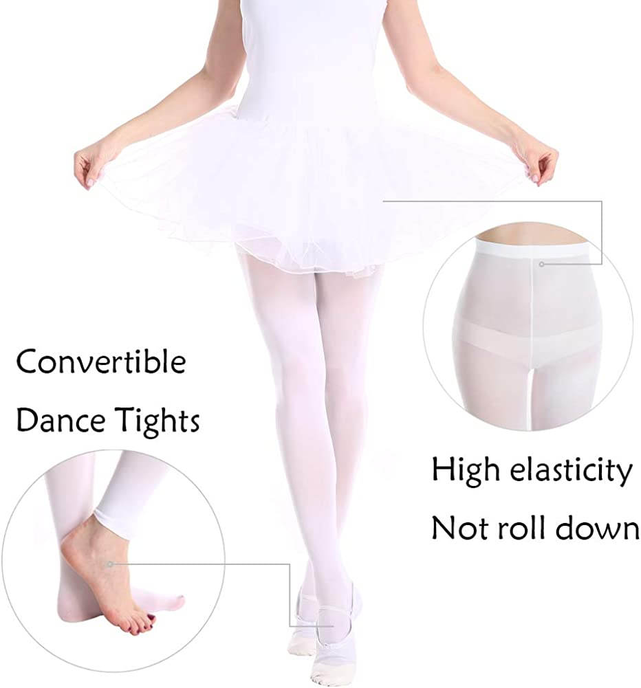 MANZI 1-3 Pairs Womens Girls Basic Convertible Transition Ballet Dance Tights 40 Denier