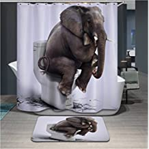Home Fashion Mildew resistant Elephant toilet Shower curtains, Width X Height / 72 x 72 inches / W * H 180 by 180 cm, polyerster, best for relatives