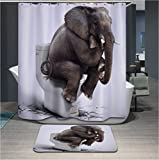 Penneys Curtains Polyerster Shower Curtain, Elephant Toilet, Size Width X Height / 72 X 80 Inches / W * H 180 By 200 Cm Modern Design, Dries Quickly, Best And Suitable For Husband