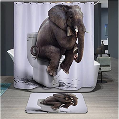 Polyerster Shower Curtain Elephant Toilet Size Width X Height 72 80 Inches W H 180 By 200 Cm Modern Design Dries Quickly Best And Suitable For