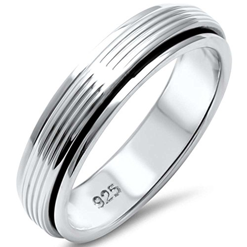 Bali Band Ring (Sterling Silver Spinning Bali Band Ring Sizes 10)
