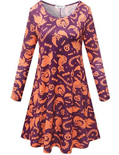 Aphratti Women's Long Sleeve Halloween Costumes Casual Flare Swing Dress Skull & Cats (Plus Size Maternity Halloween Costumes)
