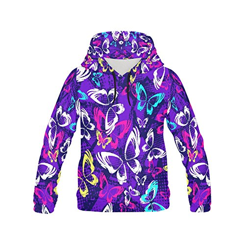 Unique Debora Custom Women's Full-Zip Long-sleeved Sweatshirt Hoodie with All Over Print with Butterflies And Dots ()