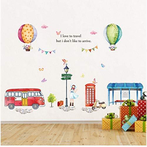 HSQMM Cartoon Heißluftballon Straße Ansicht Große Wandaufkleber Für Kinderzimmer Dekor DIY Kunst Aufkleber Abnehmbare PVC-Aufkleber (Straßen-store)