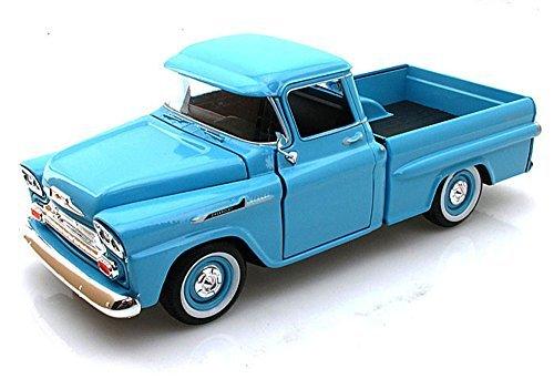 - 1958 Chevy Apache Fleetside Pickup Truck, Light Blue - Motormax 79311 - 1/24 scale Diecast Model Toy Car