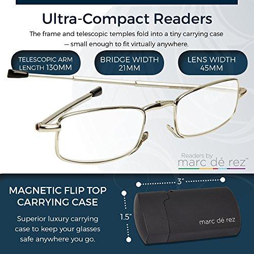 Marc De Rez Foldable Reading Glasses +2.50-2 Pack - Mini Flip Top Cases - Gunmetal Grey Folding Prescription Readers For Men and Women by Marc De Rez (Image #3)