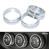 3pcs Interior Audio Air Conditoning Button Cover Decoration Twist Switch Ring Trim For Jeep Wrangler JK JKU Compass Patriot 2011-2016 (Silver)