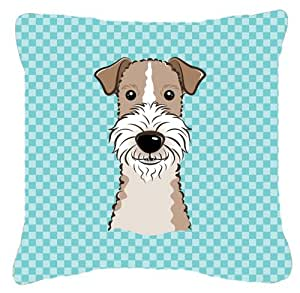 Caroline's Treasures BB1185PW1414 Checkerboard Blue Wire Haired Fox Terrier Canvas Pillow, Large, Multicolor