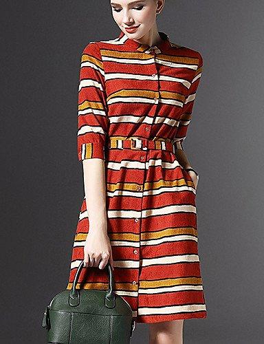 PU&PU Robe Aux femmes Gaine Street Chic,Rayé Mao Au dessus du genou Polyester , red-l , red-l
