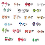 30 Pairs Stainless Steel Mixed Color Cute Animals Fox Heart Star Ladybug Bee Frog Mushroom Tree Daisy Umbrella Rose Gold White Pearl Stud Earrings Set (animal tree pearl)
