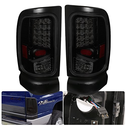 AJP Distributors For Dodge Ram 1500 2500 3500 LED Tail Lights Upgrade Replacement Pair Left Right 1994 1995 1996 1997 1998 1999 2000 2001 2002 94 95 96 97 98 99 00 01 02 (Black Housing Smoke Lens)