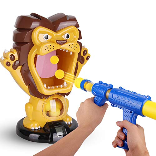Air Foam Ball Shooting Toy, Air Pump Toy Shooting Lion Hungry Target Screen for Children, with 12 EVA Foam Balls