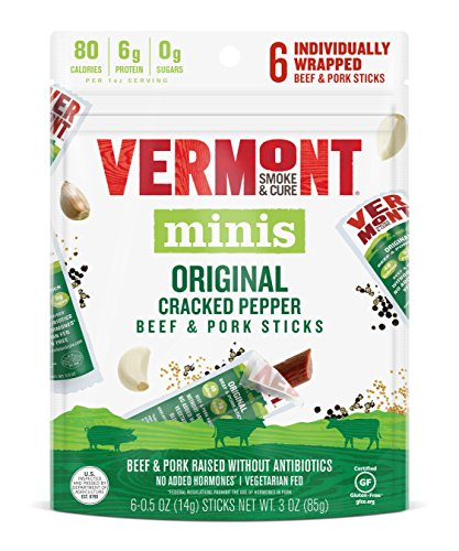 Vermont Smoke & Cure Mini Meat Stick Go Pack, Beef & Pork, Antibiotic Free, Gluten Free, Cracked Pepper, .5oz Stick, 6 Count