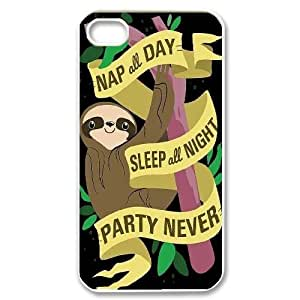 Custom Sloth Face Iphone 4,4S Phone Case, Sloth Face DIY Cell Phone Case for iPhone 4, iPhone 4s at Lzzcase