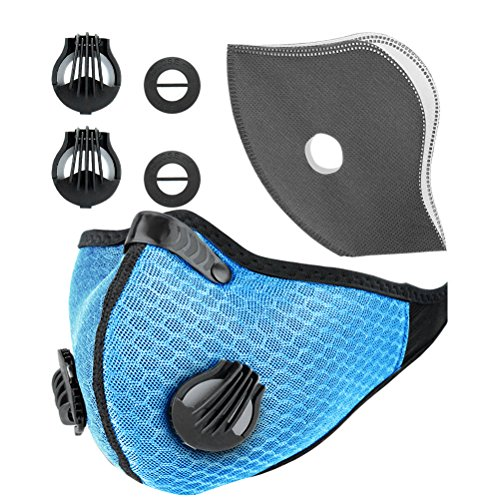 Activated Carbon Dustproof Mask Face Mask Filtration Exhaust Gas Anti Pollen Allergy PM2.5 Dust Mask Filter for Running Cycling Safety Masks ()