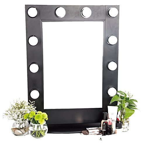 Alice Hollywood Makeup Mirror with LED Light Wall Mounted Lighted Vanity Mirror with Tabletops LED Illuminated Cosmetic Mirror (Black) by Hans & Alice