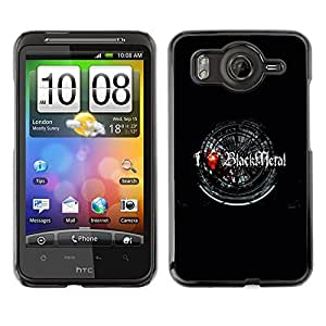 LECELL -- Funda protectora / Cubierta / Piel For HTC G10 -- I Love Black Metal --