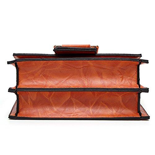Simples Embrague la los marrón Cuadrado del de Monedero Shoulder de Cartera Hombro Simples PU muñeca la Tote Bolso TravelBags del de Bolso de Remaches de Retros magnéticos la xIwqx5gU