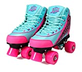 Kandy-Luscious Kid's Roller Skates - Comfortable Children's Skates with Fun Colors & Designs (Summer Days Teal and Pink) (Size 4)