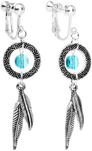 Handcrafted Dreamcatcher Dangle Clip On Earrings Created with Swarovski Crystals