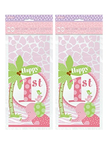 Unique Industries First Birthday Cellophane Bags, 20ct - Set of 2