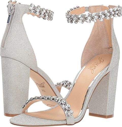 Badgley Mischka Jewel Women's Mayra Heeled Sandal, Silver Glitter, 8.5 M US ()