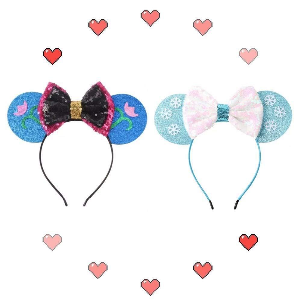 CLGIFT Frozen Inspired Minnie Mouse Ears Headband,Pick your princess, Elsa Minnie Ears, Snowflake Ears, Anna Ears,holiday minnie ears (Both)