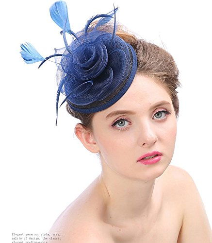 Nwn Bridal Hat Tiara Handmade Linen Feather Creative Banquet Bowler Hat for Women (Color : Navy Blue)