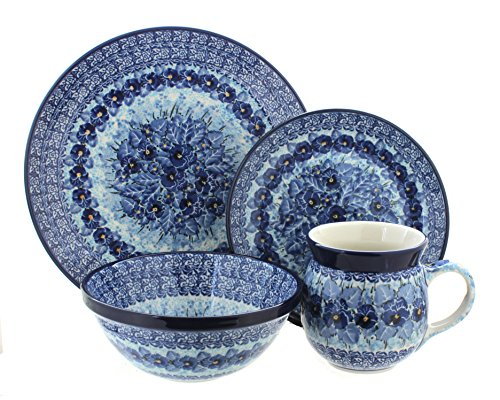 Rose Setting Place 4 Piece (Blue Rose Polish Pottery Joanna 4 Piece Place Setting)