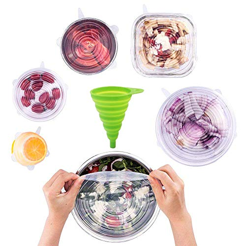 Silicone Stretch Lids, Seasky 6 Pack Reusable Lids - 1 Silicone Funnels, Durable and Expandable to Fit Various Sizes and Shapes of Containers for Keeping Food Fresh, Microwave and Freezer Safe (White)