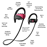 [Best Friend Gift for Woman Cyber Monday Deal] Wireless Bluetooth Headphones with Mic Arround Ear Hook Sports Earbuds,12 Hours Extra Bass Stereo Niose Cancelling Hands Free Call Earphones(Red/Black)