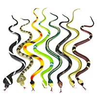 """D&P Preferred 14"""" Realistic Rain Forest Snakes Assorted Designs Set of 24 Toy Snake for Kids, for Pranks, Party Favor, Decoration, and Garden Props,"""