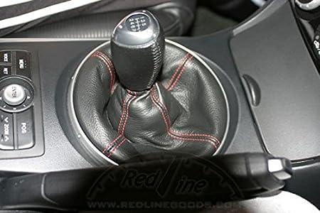 RedlineGoods Shift Boot Compatible with Mazda RX8 2003-12 Black Leather-Black Thread Illuminated KNOB
