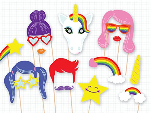 (Set of 18)Rainbow Unicorn Pegasus Photo Booth Props Kit,Funny Party Camera Props Fully - Photo Own Your Booth Make