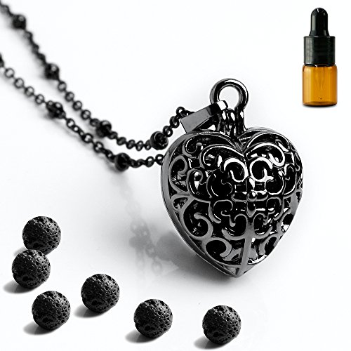 "Maromalife Heart Aromatherapy Essential Oil Diffuser Necklace Locket Pendant Magnetic Closure, 6 Black True Lava Stone with 25.5"" Adjustable Chain Perfect Gift Set-Black"