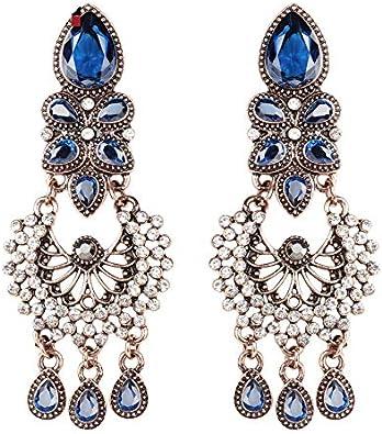 Pendientes grandes exagerados estilo étnico joyería india antigua fría azul cristal flor Vintage boda pendiente para las mujeres