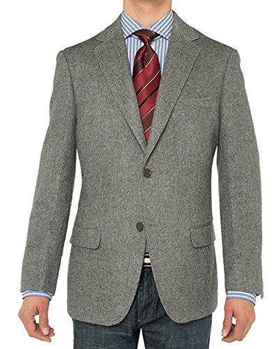 Luciano Natazzi Men's Camel Hair Blazer Modern Fit Suit Jacket (40 Long US / 50 Long EU, Gray)