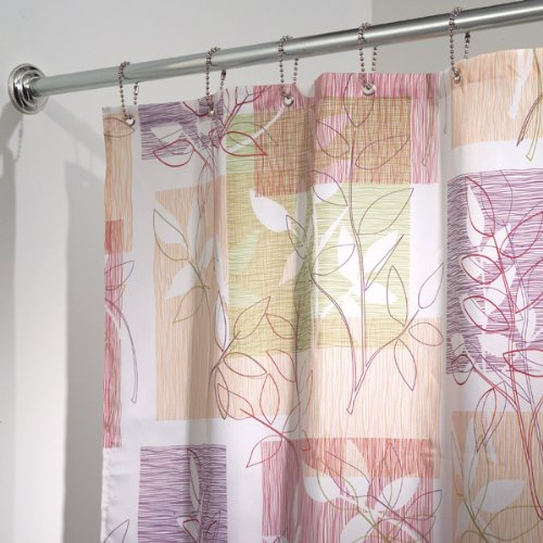 "InterDesign Vivo Botanical Fabric Shower Curtain - 72"" x 72"", Purple/Tan"