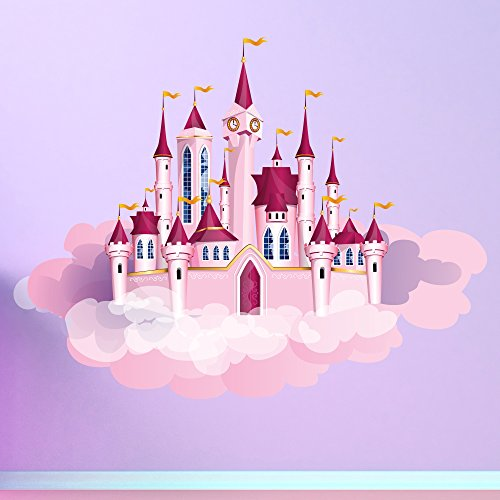 azutura Princess Castle & Clouds Wall Sticker Fairytale Wall Decal Girls Bedroom Decor Available in 8 Sizes Large Digital