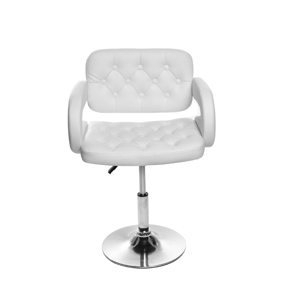 Tuff Concepts Adjustable Quilted Leather Salon Stool Barber Chair Beauty Hairdressing Chair UK (White)