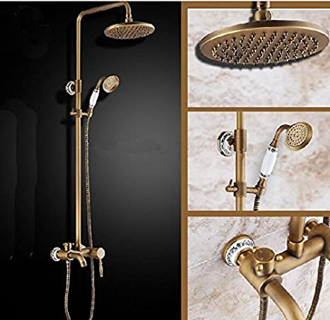 Gowe Blue And White Porcelain Antique Brass Rain Shower Faucet Tub