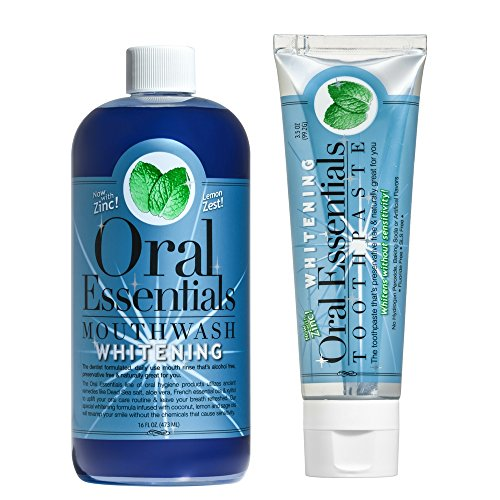 Oral Essentials Teeth Whitening Mouthwash (16 Oz) & Toothpaste (3.5 Oz) Combo 51R6qe V9yL