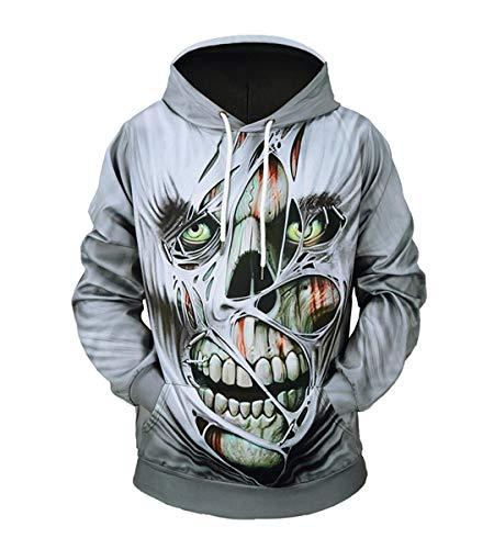 Wen Qiao Halloween's New Creative Horror Ghoul Skull 3D Printed Cap Size Baggy Bodysuit (XXL, Gray)