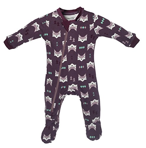 ZippyJamz Organic Baby Footed Sleeper Pajamas with Inseam Zipper for Quickier and Easier Diaper Changes ~ Quiet Fox Purple (6-9 Months)