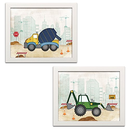 Sagebrush Fine Art Adorable Construction Truck and Digger Set, Perfect for A Child's Room or Nursery; Two 14x11in White Framed Prints