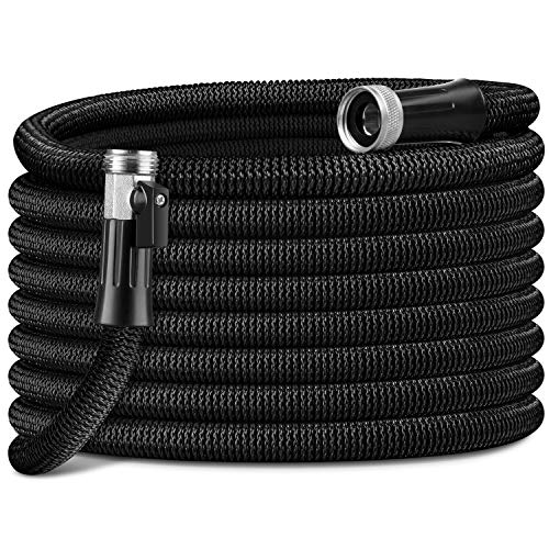 "HooSeen Expandable Garden Hose - 100FT Kink-Free Flexible Water Hose with 3/4"" Anti-Rust Solid Brass Fittings, Double Latex Core and Shut Off Value Black"