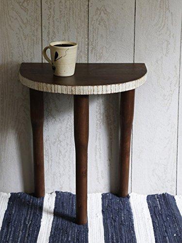 Wooden Corner Half Side Table Garden Stool End Rustic Small Sitting Three Legged Stool Indoor Outdoor Patio Livingroom Kitchen Counter Bar 16 x 12 x 18 Inches Dining Room Rectangular Bar Stool