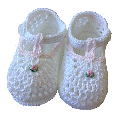 Petit Ami Girls Crocheted Booties White with Pink Trim (0-3 Months) ()